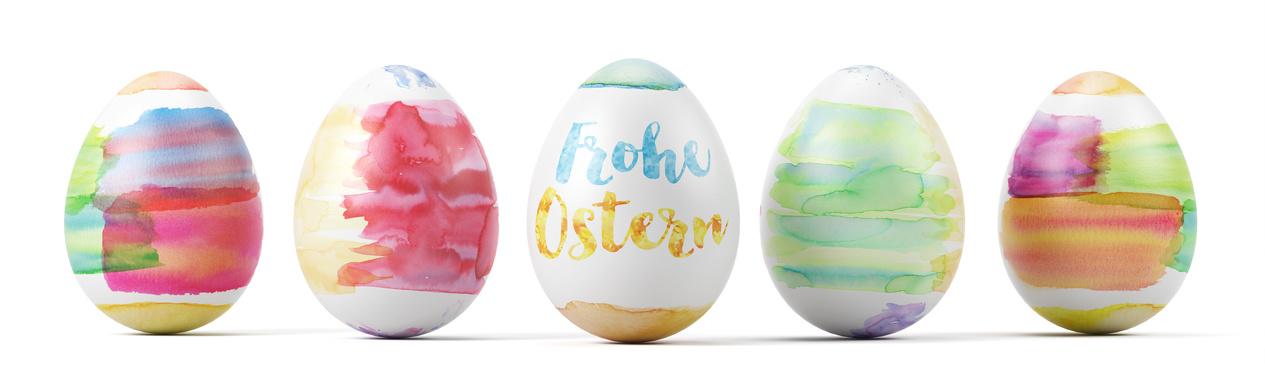 Header mit Frohe Ostern auf Osterei